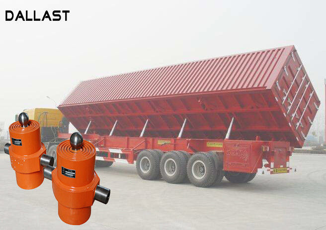 Single Acting Hydraulic Cylinder , Telescopic Chrome Hydraulic Lift Cylinders for Side Dumper